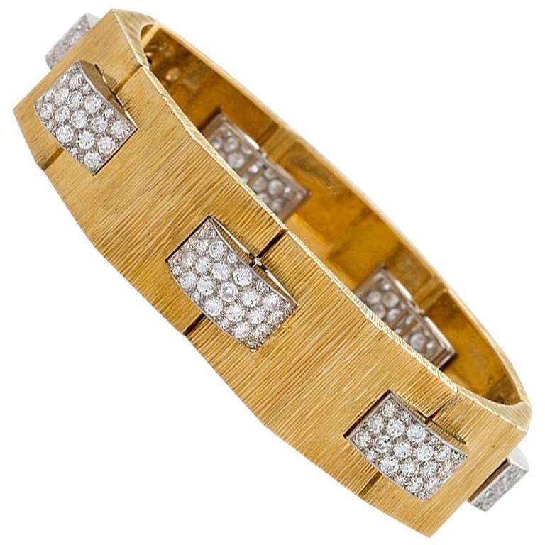 "Cartier Gold and Diamond ""Tank"" Bracelet"