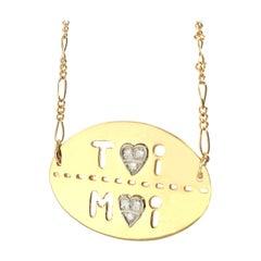 Gold and Diamond Toi et Moi Necklace