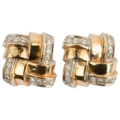 Gold and Diamond Woven Lattice Pattern Earrings