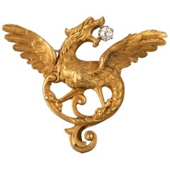 Gold and Diamonds Antique French Chimera Brooch