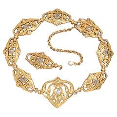 Gold and Diamonds French Art Nouveau Bracelet
