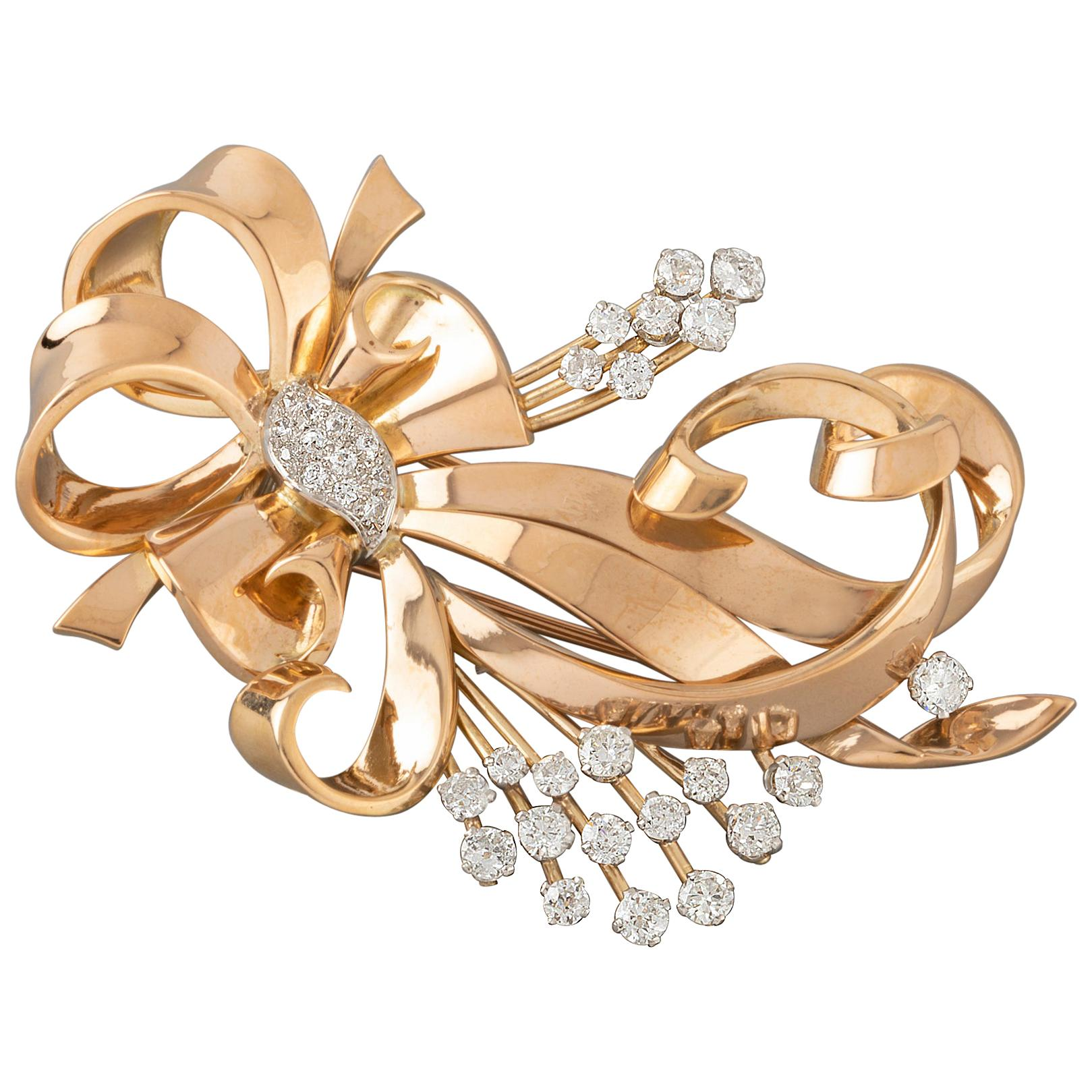 Gold and Diamonds French Vintage Brooch