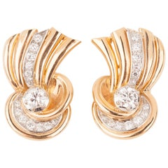 Gold and Diamonds French Vintage Clip Earrings