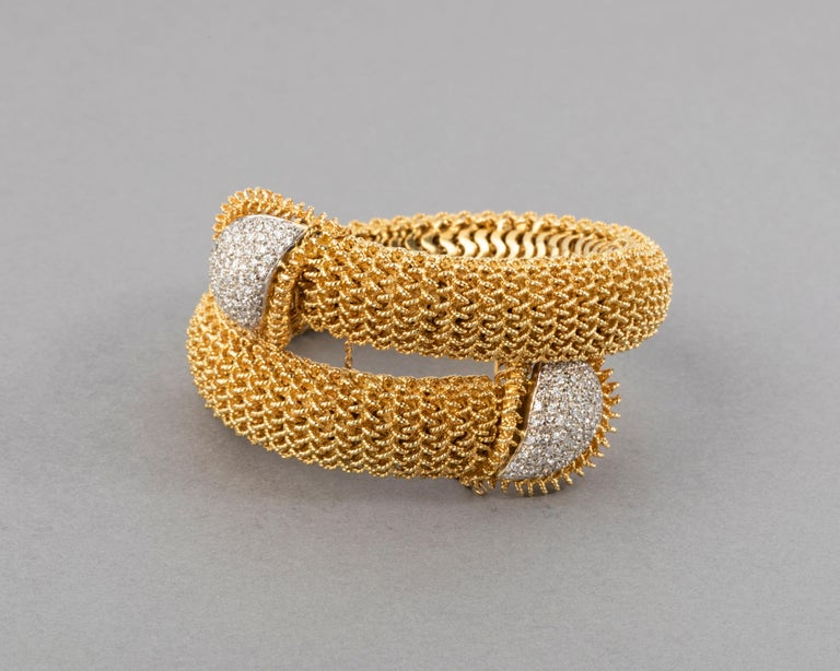 Gold and Diamonds Vintage Bracelet In Good Condition For Sale In Saint-Ouen, FR