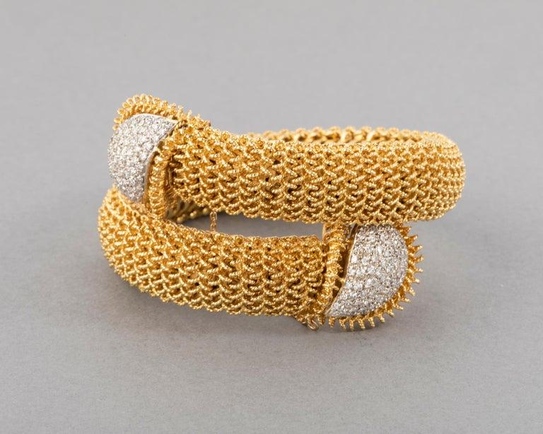 Women's Gold and Diamonds Vintage Bracelet For Sale