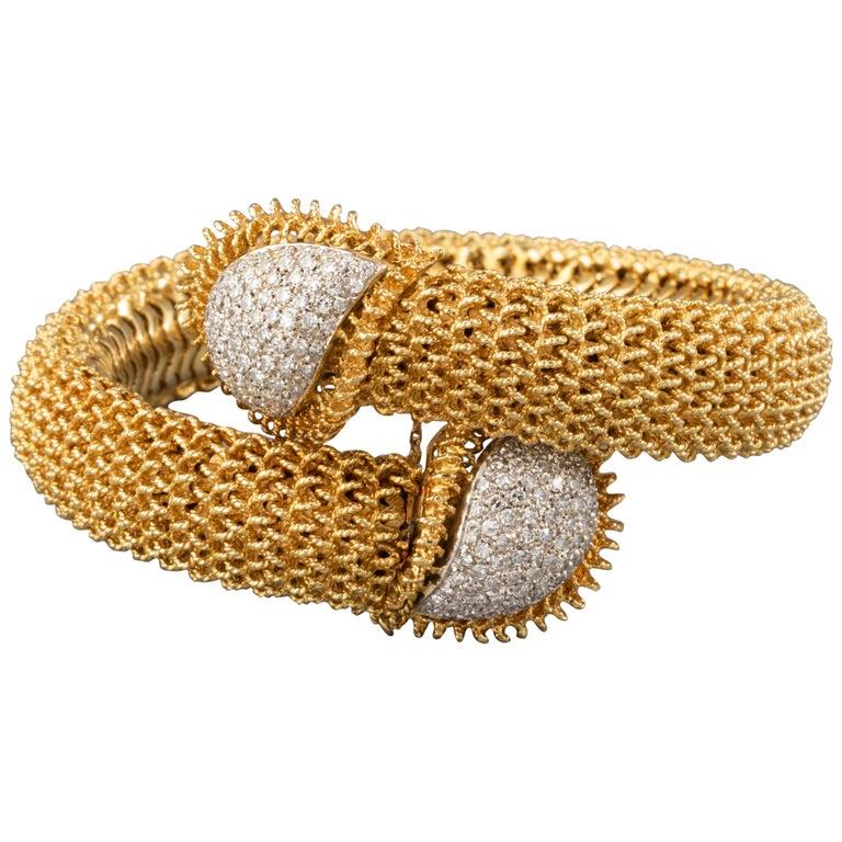 Gold and Diamonds Vintage Bracelet For Sale