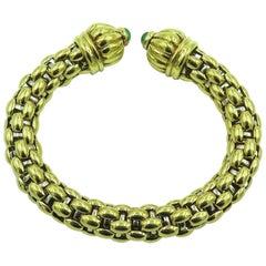 Gold and Emerald Bangle Bracelet