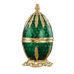 Gold and Emerald Glass Egg Shaped Caviar Server