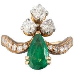 Gold and Emeralds French Antique Ring