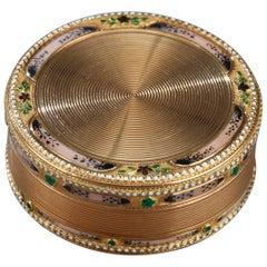Gold and Enamel 18th Century Circular Box