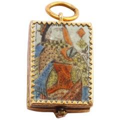 "18th Century  ""Mon Coeur Contre Le Votre""Gold and Enamel Playing Card Love Charm"