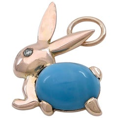 Gold and Enamel Bunny Charm