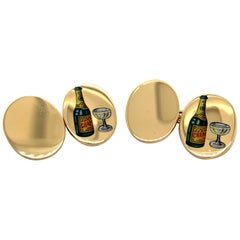 Gold and Enamel Deakin & Francis Champagne Cufflinks