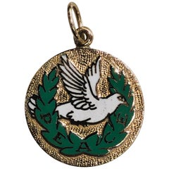 Gold and Enamel Dove and Peace Charm