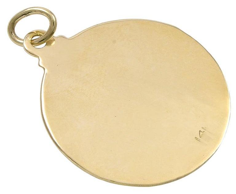Gold and Enamel February Charm In Excellent Condition For Sale In New York, NY