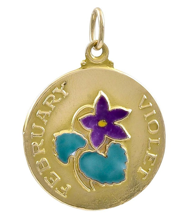 Women's or Men's Gold and Enamel February Charm For Sale