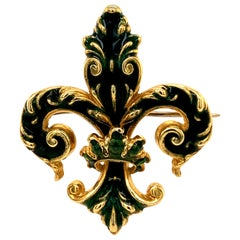 Gold and Enamel Fleur-de-Lis Pin/Pendant