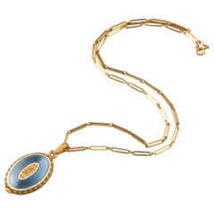 Gold and Enamel French Antique Locket Necklace