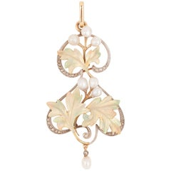 Gold and Enamel French Art Nouveau Pendant