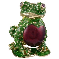 Gold and Enamel Frog Brooch