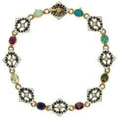 Gold and Enamel Gemset Bracelet by Giuliano