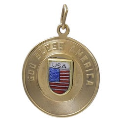 Gold and Enamel God Bless America Charm