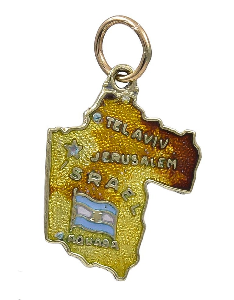 Women's or Men's Gold and Enamel Israel Charm For Sale