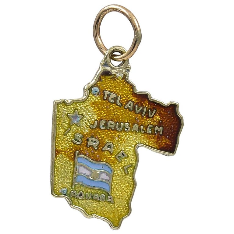 Gold and Enamel Israel Charm For Sale