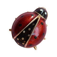 Gold and Enamel Ladybird Brooch