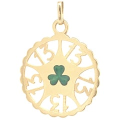 Gold and Enamel Lucky 13 Charm