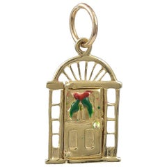 Gold and Enamel Merry Christmas Charm