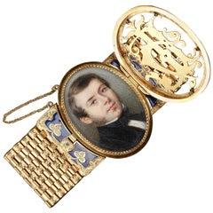 Gold and Enamel Miniature Bracelet, Bost, 19th Century