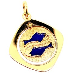 Gold and Enamel Pisces Charm