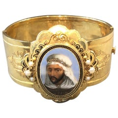 Gold and Enamel Portrait Cuff Bracelet