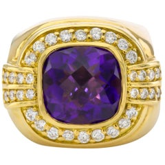 Gold and Faceted Amethyst Ring with Diamonds