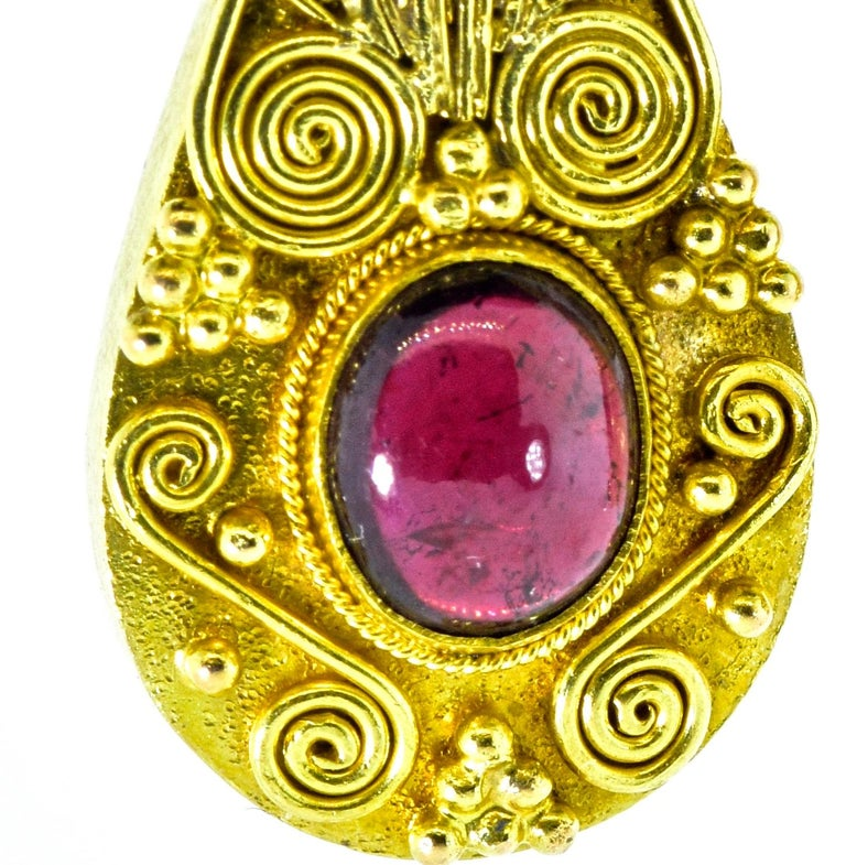 Gold and Garnet Pendant Style Earrings In Excellent Condition For Sale In Aspen, CO