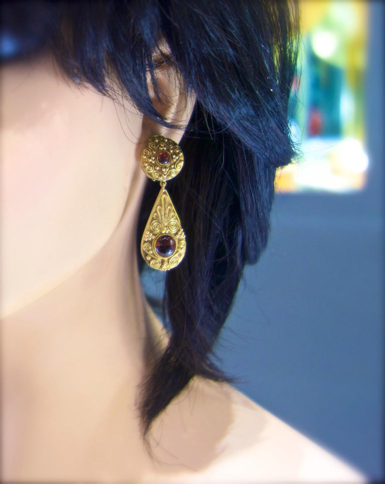 Women's or Men's Gold and Garnet Pendant Style Earrings For Sale