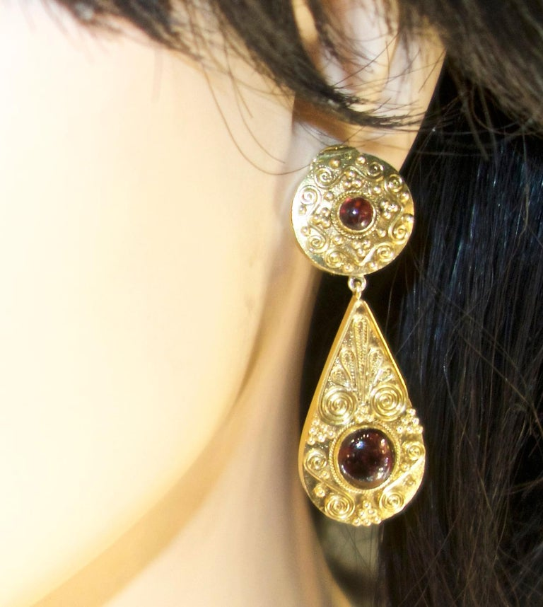 Gold and Garnet Pendant Style Earrings For Sale 1