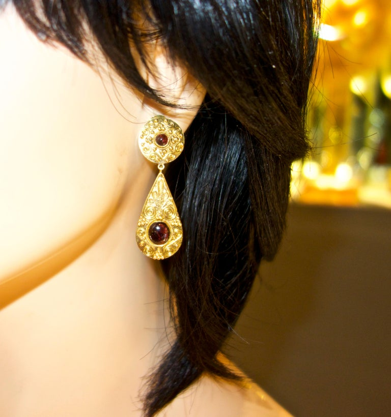 Gold and Garnet Pendant Style Earrings For Sale 2