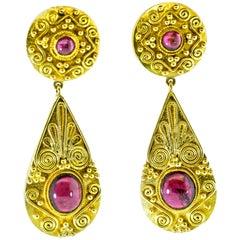 Gold and Garnet Pendant Style Earrings