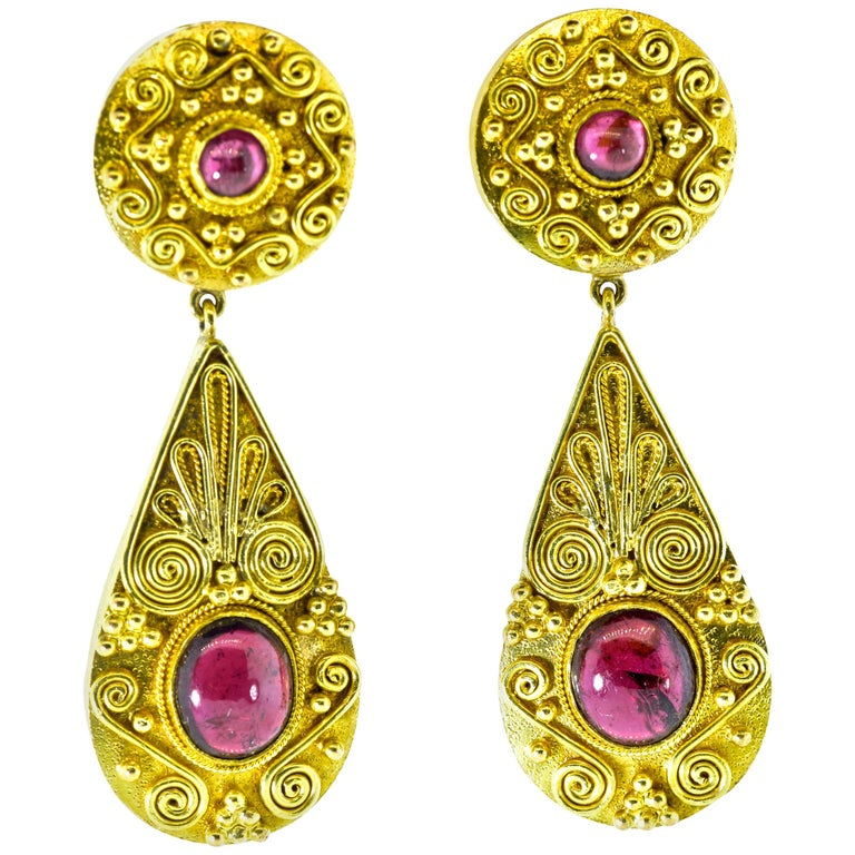 Gold and Garnet Pendant Style Earrings For Sale