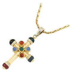 Gold and Gemstone Cross on Chain