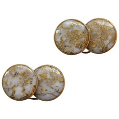 Gold and Gold Quartz Cufflinks