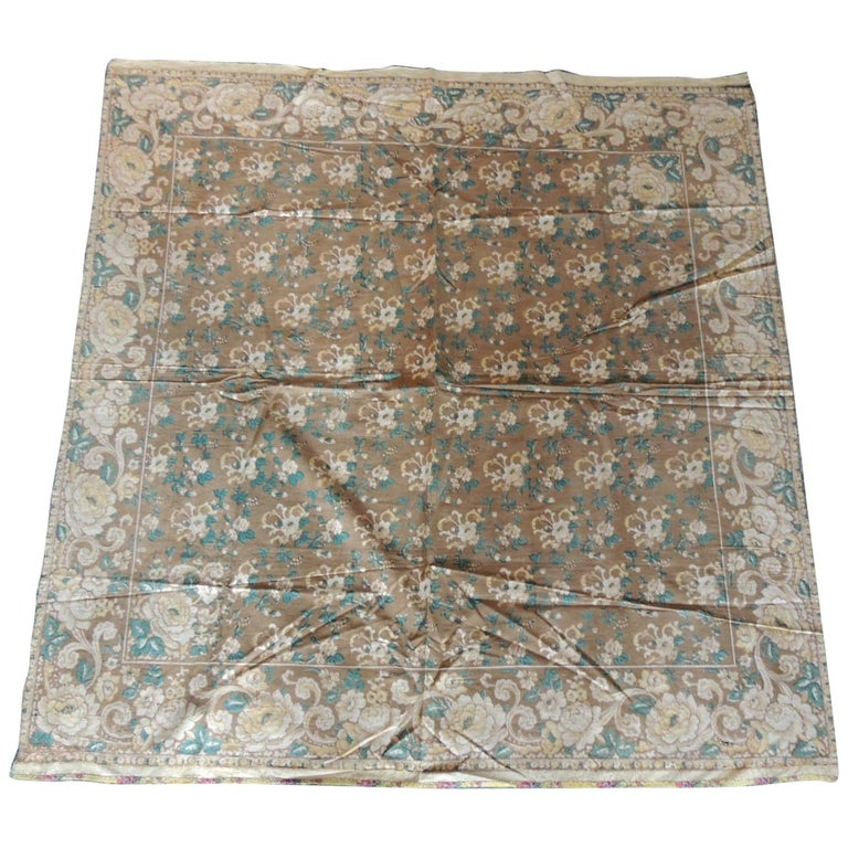 Gold and Green Antique Square Printed Table Topper For Sale