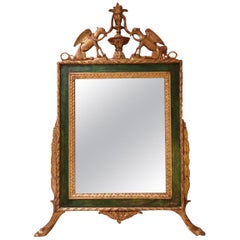 Gold and Green Carved Wood Italian Wall Mirror, 19th Century