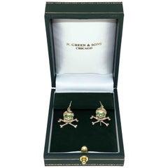 Gold and Green Garnet Vintage Skull and Cross Bones Earrings