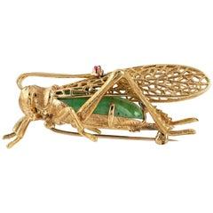 Gold and Green Grossular Garnet Grasshopper Brooch