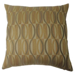 "Pair of Gold and Green ""Mercer"" Woven Silk Decorative Pillows"