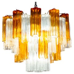 Gold and Ice Tronchi Murano Glass Chandelier by Toni Zuccheri for Venini, 1970s