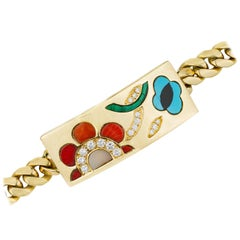 Gold and Inlaid Hardstone I. D. Bracelet